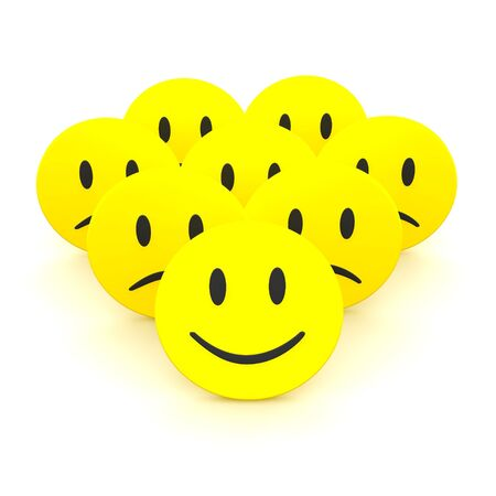 Group of smileys. 3d rendered illustration isolated on white. Stock Illustration - 6236472