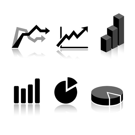 Set van 6 grafiek pictogram variaties