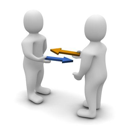 barter: Exchange or trade conceptual illustration. 3d rendered image.
