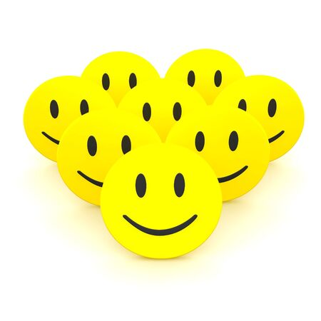 Group of smileys. 3d rendered illustration isolated on white. illustration