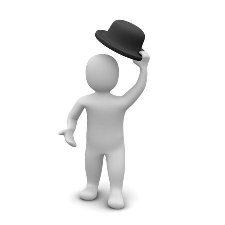 hands off: Hombre elevar el sombrero. Ilustraci�n procesada 3D.