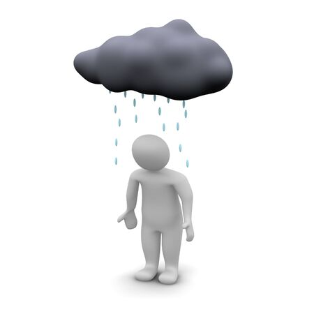 dark cloud: Bad day. 3d rendered illustration isolated on white. Stock Photo