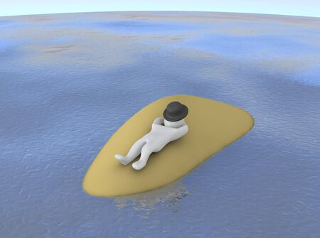 Man sleeping or relaxing on small island. 3d rendered illustration. illustration