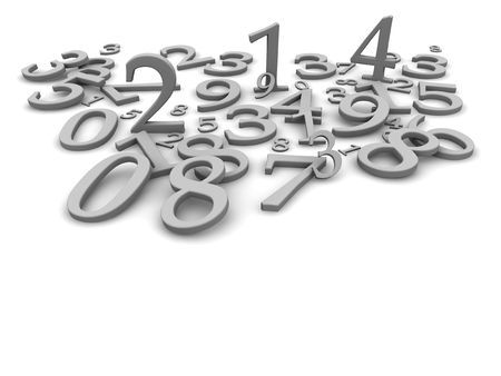 numbers abstract: Black and white numbers background. 3d rendered illustration