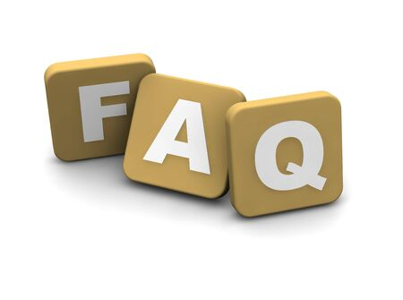 frequently asked questions: FAQ text. 3d rendered illustration isolated on white. Stock Photo