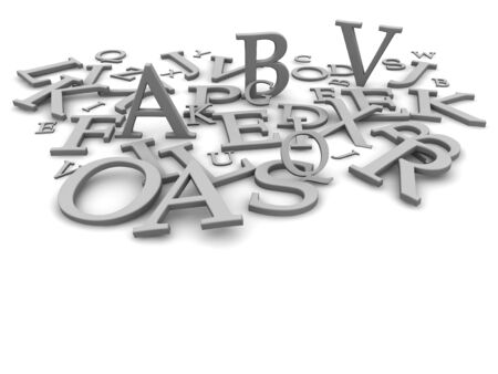 3d letters: Black and white letters background. 3d rendered illustration