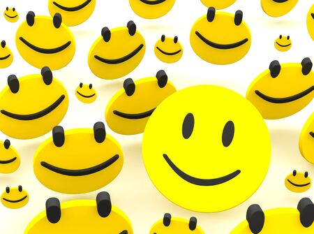 smileys: Group of smileys. 3d rendered illustration isolated on white. Stock Photo