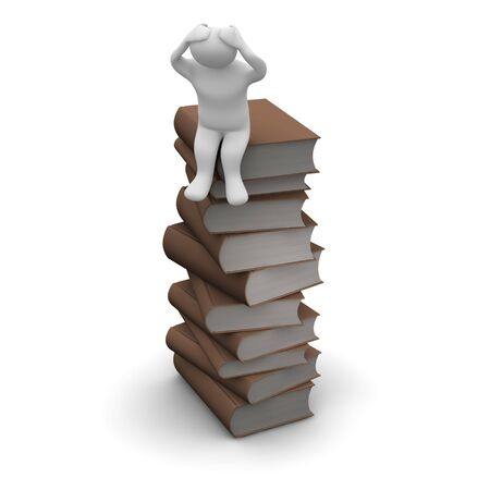 hardcover: Frustrated man sitting on high stack of brown hardcover books. 3d rendered illustration.