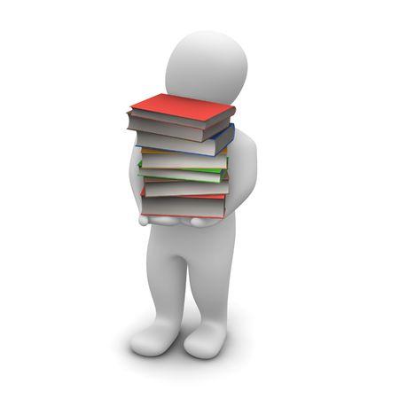 libro caricatura: Hombre llevando alta pila de libros de tapa dura. Ilustraci�n procesada 3D.