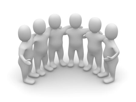 people connected: Group of friends. 3d rendered illustration. Stock Photo