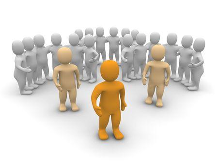 marionetta: Leader e la sua squadra. illustrazione di rendering 3D.