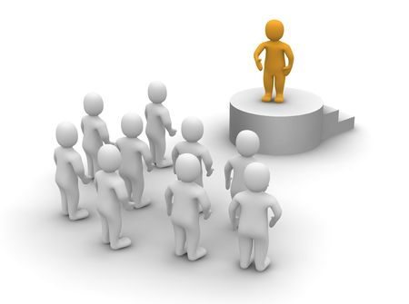 clipart podium: Speaker and audience. 3d rendered illustration.