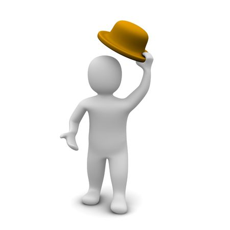 give and take: Greeting   man raising the hat. 3d rendered illustration.