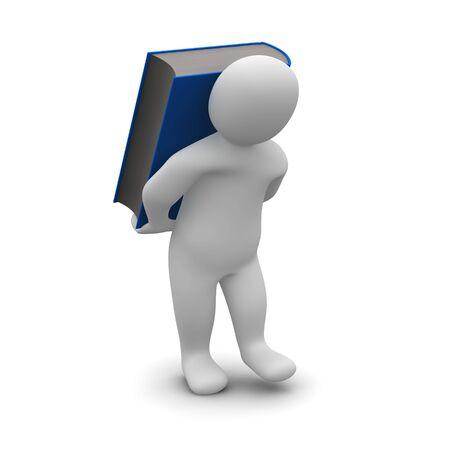 Man carrying blue hardcover book. 3d rendered illustration. Stock Illustration - 6656656