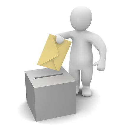 rendered: Man sending letter or vote concept. Stock Photo
