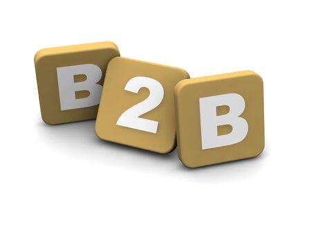 b2b: B2B business to business-alias ext. 3d prestados ilustraci�n aislado en blanco.