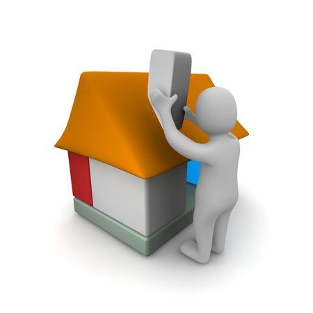 clipart chimney: Man building house. 3d rendered illustration.