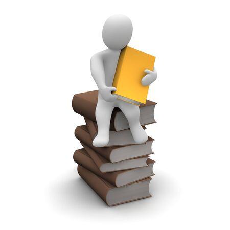 Begeisterter Leser sitzend Stapel braun Hardcover Bücher. 3D gerenderten Abbildung.