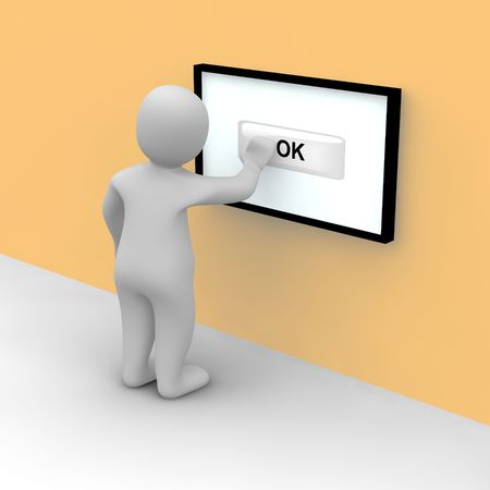 command button: Man taps on ok button on the touch screen. 3d rendered illustration. Stock Photo