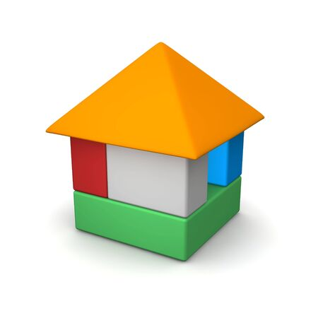 House built of color blocks. 3d rendered illustration. Stock Illustration - 6745983