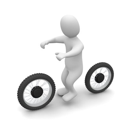 moto: Man and dirt bike. 3d rendered illustration.
