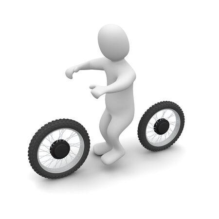 moto da cross: Uomo e dirt bike. illustrazione di rendering 3D.