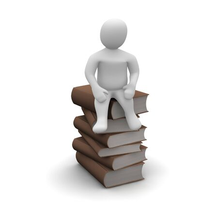 avid: Man sitting on stack of brown hardcover books. 3d rendered illustration. Stock Photo