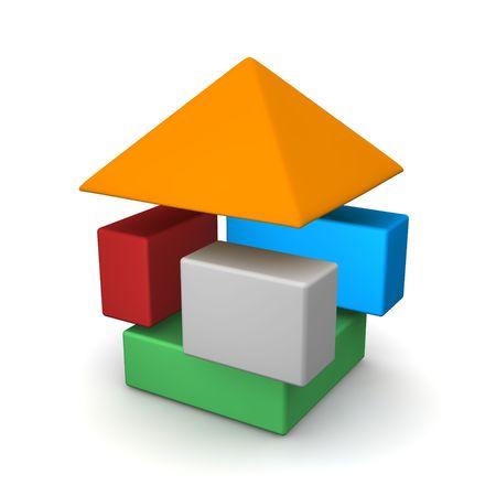 assemble: Dissasembled house. 3d rendered illustration.