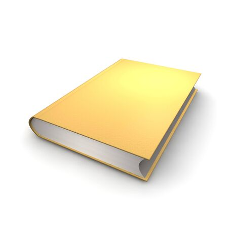 Orange or golden isolated book. 3d rendered illustration.