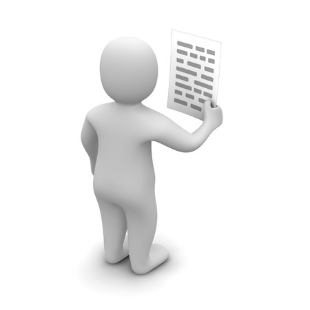 characters: Man holding paper with text. 3d rendered illustration. Stock Photo