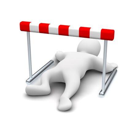 Man creeping under hurdle. 3d rendered illustration. Stock Illustration - 6981453