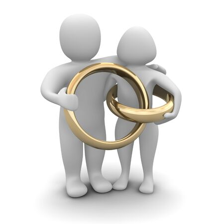 ringlet: Couple and wedding rings. 3d rendered illustration.