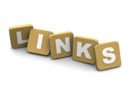 linkage: Links text. 3d rendered illustration isolated on white.