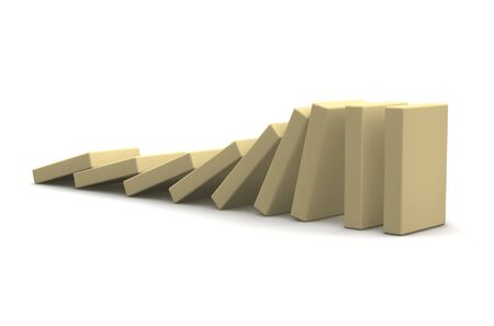 chain reaction: Row of beige falling blocks. 3d rendered illustration.