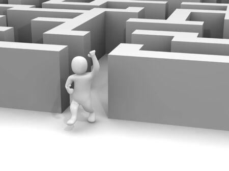 Man escaping labyrinth. 3d rendered illustration. Stock Illustration - 6981474