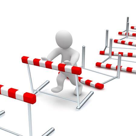 Mann zu überwinden oder Hürden umzuwerfen. 3D gerenderten Abbildung.