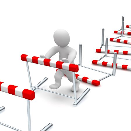 Man overcome or knocking down hurdles. 3d rendered illustration. Stock Photo
