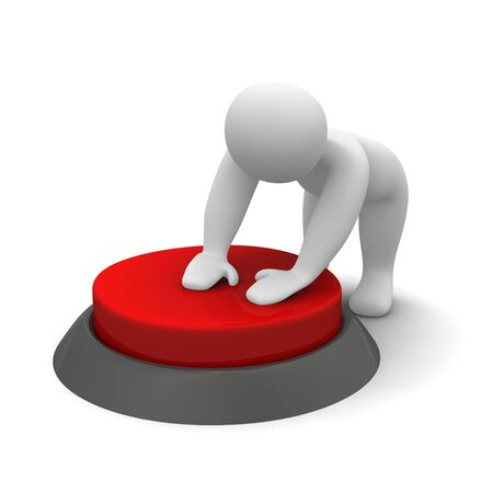 pushing the button: Man pushing red button. 3d rendered illustration. Stock Photo