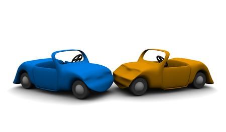 crashed: Car accident. 3d rendered illustration.