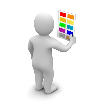 rendered: Man choosing color. 3d rendered illustration isolated on white.