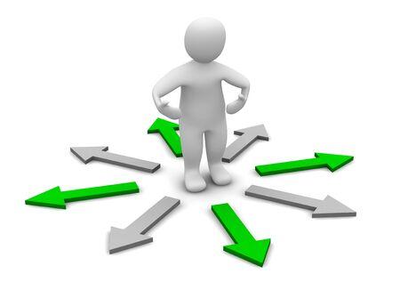 Choose of right direction. 3d rendered illustration. illustration