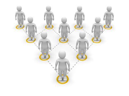 jerarquia: Pir�mide de jerarqu�a de equipo. Ilustraci�n procesada 3D. Foto de archivo