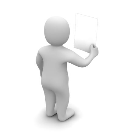 Man holding and looking at blank document. 3d rendered illustration. Stock Illustration - 7101830