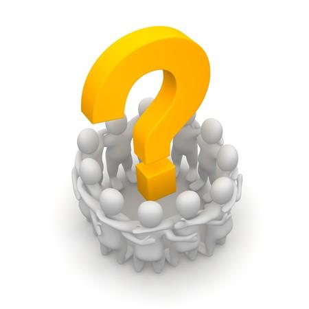 lluvia de ideas: Grupo de personas y el signo de interrogaci�n. Ilustraci�n procesada 3D. Foto de archivo