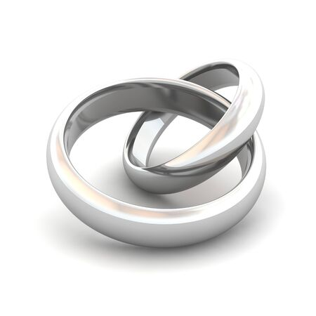 Jointed wedding rings. 3d rendered illustration.