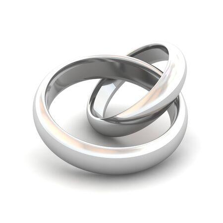 ringlet: Jointed wedding rings. 3d rendered illustration.