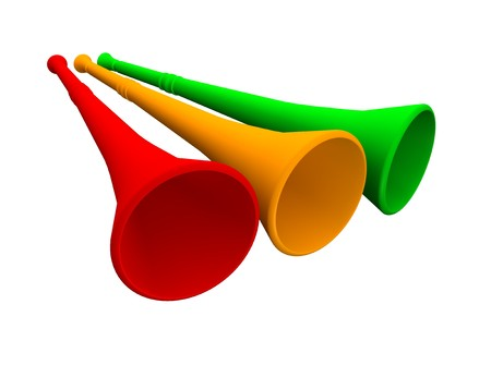 Three vuvuzela trumpets. 3d rendered illustration. Stock Photo