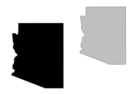 Arizona map. Black and white. Mercator projection.