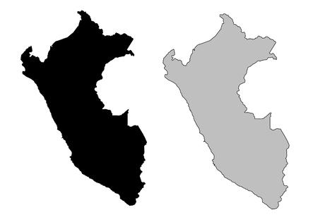 mapa peru: Mapa de Per�. Blanco y negro. Proyecci�n de Mercator.  Vectores