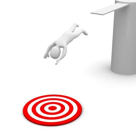 picada: Hombre saltando al destino de rojo. Ilustraci�n procesada 3D.